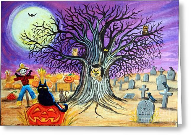 Jackolanterns Greeting Cards - Spooky Night Greeting Card by Nick Gustafson