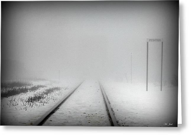 Spooky Train Tracks Greeting Card by Ms Judi