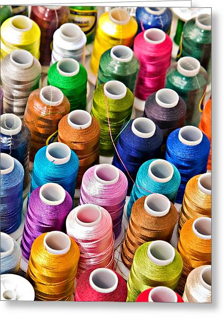 Susan Leggett Greeting Cards - Spools of Thread Greeting Card by Susan Leggett