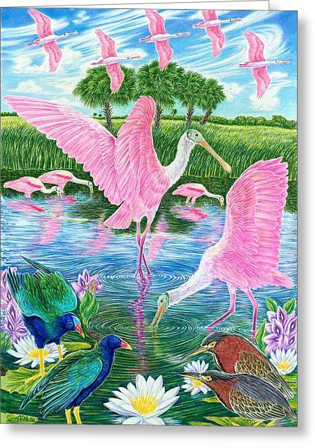 Green Feathers On Back Greeting Cards - Spoonbill Heaven Greeting Card by Tim McCarthy