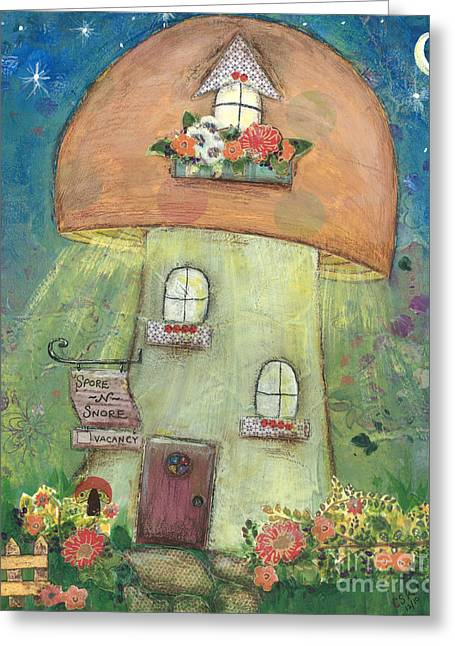 Toadstools Mixed Media Greeting Cards - Spore and Snore Inn Greeting Card by Cameron Reutzel