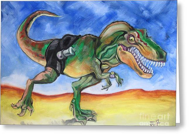 Tyrannosaurus Rex Greeting Cards - Sportosaurus Greeting Card by Ellen Marcus