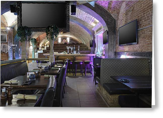 Communication Aids Greeting Cards - Sports Bar And Restaurant Interior Greeting Card by Magomed Magomedagaev