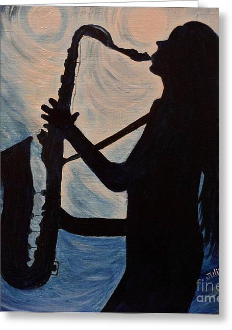 Spotlight On The Blues Greeting Card by Julie Brugh Riffey
