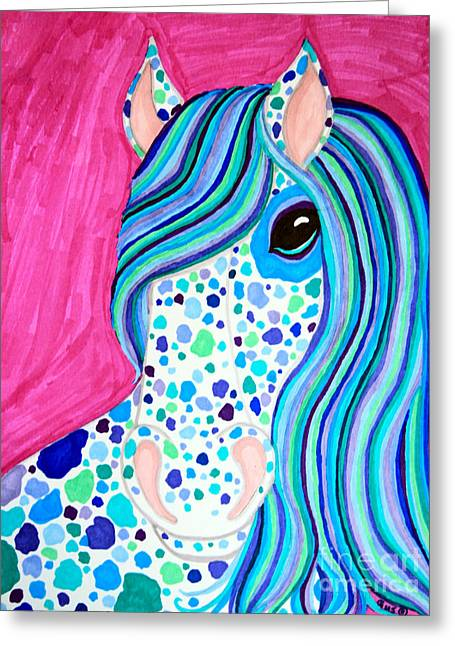 Spot Drawings Greeting Cards - Spotted Horse Greeting Card by Nick Gustafson