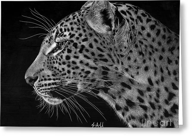 Photo Realism Drawings Greeting Cards - Spotted Solitude Greeting Card by Sheryl Unwin