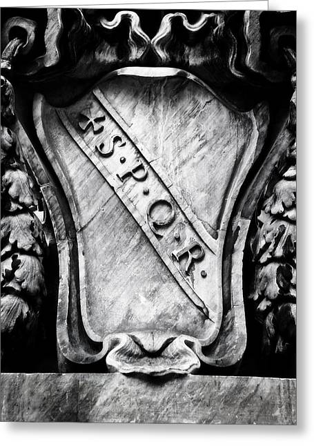 Coat Of Arms Greeting Cards - Spqr Greeting Card by Joana Kruse