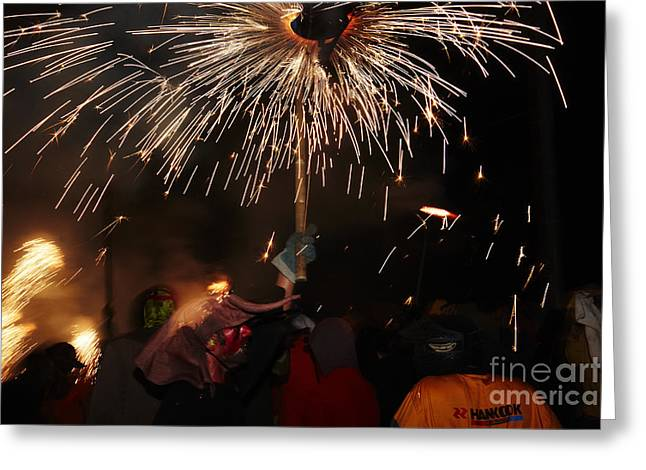 Fuegos Artificiales Greeting Cards - Spray of sparks Greeting Card by Agusti Pardo Rossello