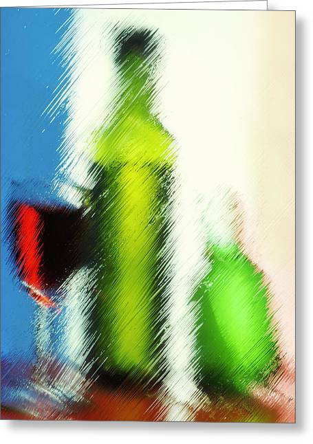 Distortion Glass Art Greeting Cards - Wine glasses and bottle with colorful drinks  Greeting Card by   larisa Fedotova