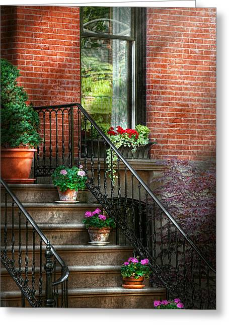 Red Geraniums Greeting Cards - Spring - Porch - Hoboken in Spring Greeting Card by Mike Savad