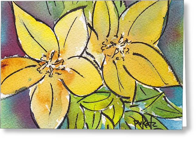 Phthalo Blue Greeting Cards - Spring Blooming Yellow Greeting Card by Pat Katz