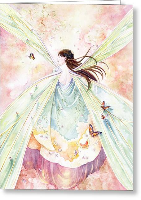 Fairies Paintings Greeting Cards - Spring Blossoms Greeting Card by Janet Chui