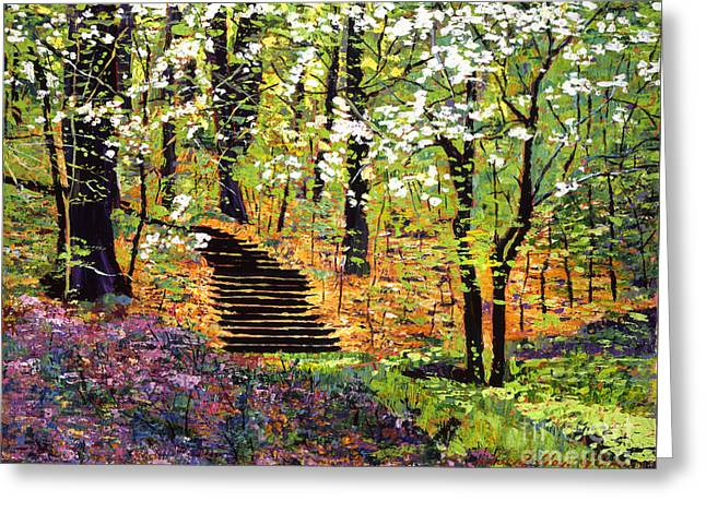 Color Green Greeting Cards - Spring Fantasy Forest Greeting Card by David Lloyd Glover