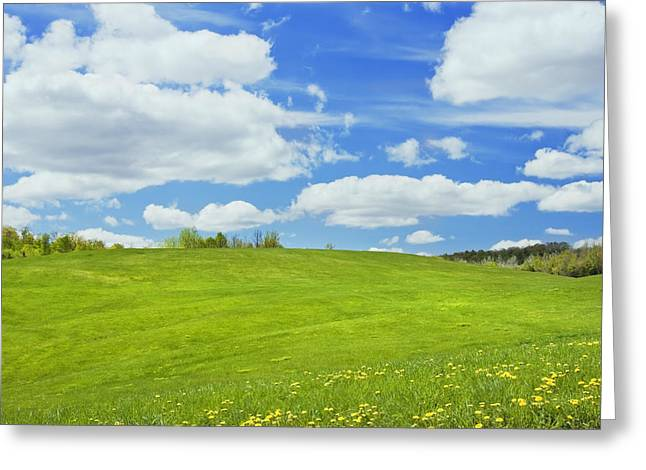 Maine Spring Greeting Cards - Spring Farm Landscape With Blue Sky in Maine Greeting Card by Keith Webber Jr