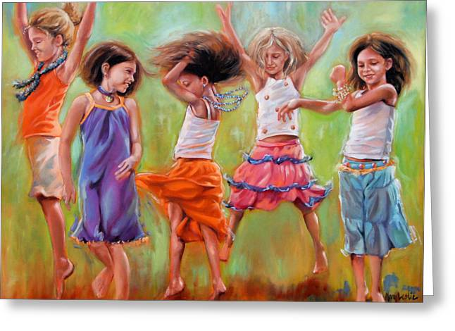 Dancing Girl Greeting Cards - Spring Fever Greeting Card by Mary Leslie