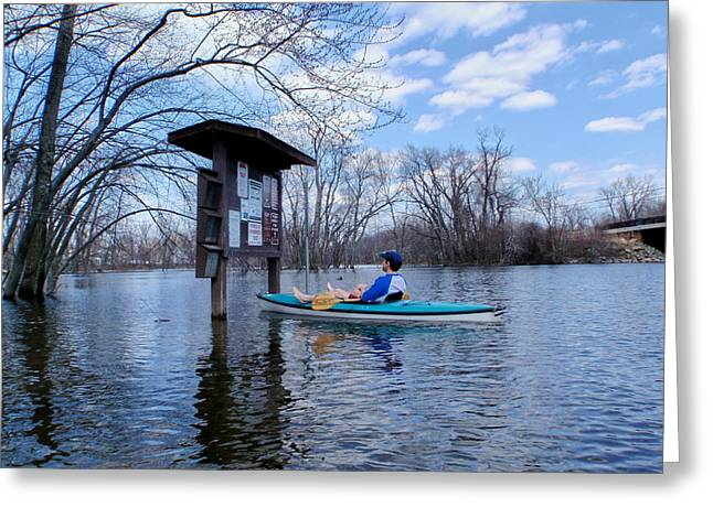 River Flooding Greeting Cards - Spring Flood at the Ox Bow Greeting Card by Perry Conley