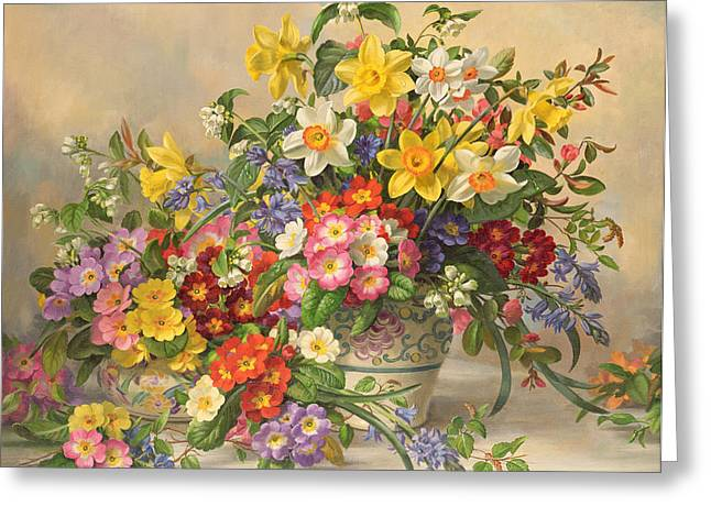 Flora Greeting Cards - Spring Flowers and Poole Pottery Greeting Card by Albert Williams