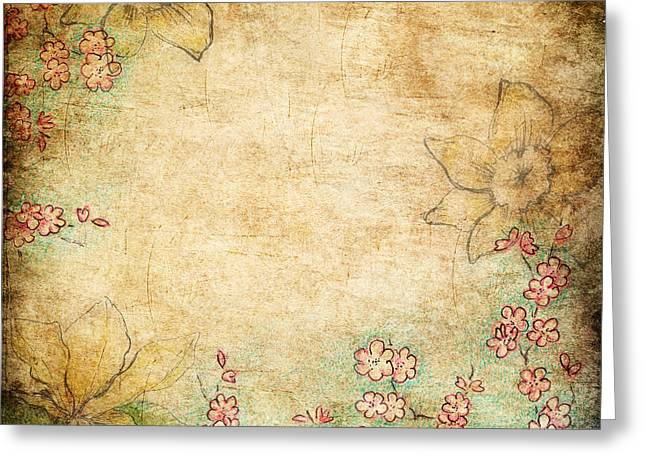 Hand Drawn Mixed Media Greeting Cards - Spring Flowers On Grunge Background Greeting Card by Anna Abramska