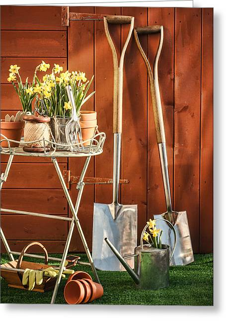 Sheds Greeting Cards - Spring Gardening Greeting Card by Amanda And Christopher Elwell