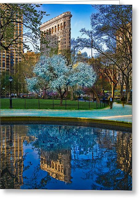 Flatiron Building Greeting Cards - Spring In Madison Square Park Greeting Card by Chris Lord