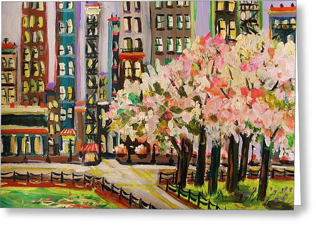 Sunlight On Flowers Drawings Greeting Cards - Spring in the City Greeting Card by John  Williams
