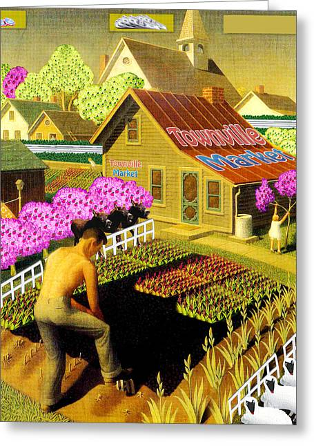 Grant Wood Greeting Cards - Spring in TownVille Greeting Card by Gravityx Designs