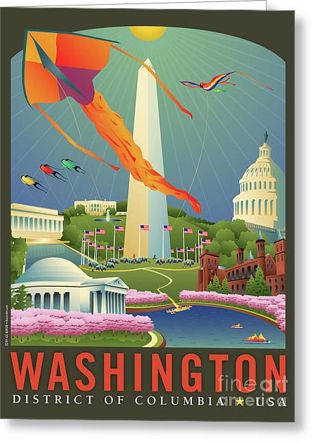 Kiting Greeting Cards - Spring in Washington D.C. Greeting Card by Joe Barsin