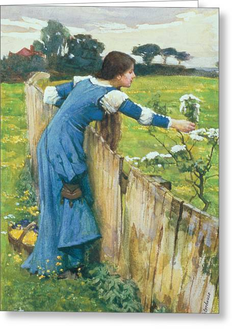 Spring Dresses Greeting Cards - Spring Greeting Card by John William Waterhouse