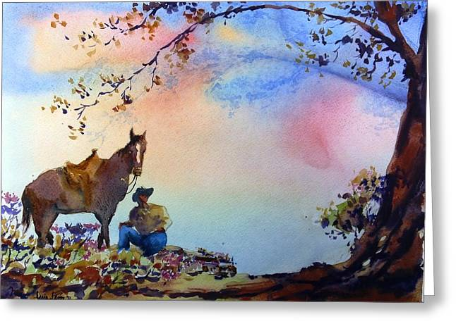 Lone Horse Paintings Greeting Cards - Spring Greeting Card by Luis  Leon
