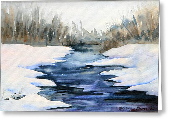 Wet In Wet Watercolor Greeting Cards - Spring Melt Greeting Card by Kristine Plum