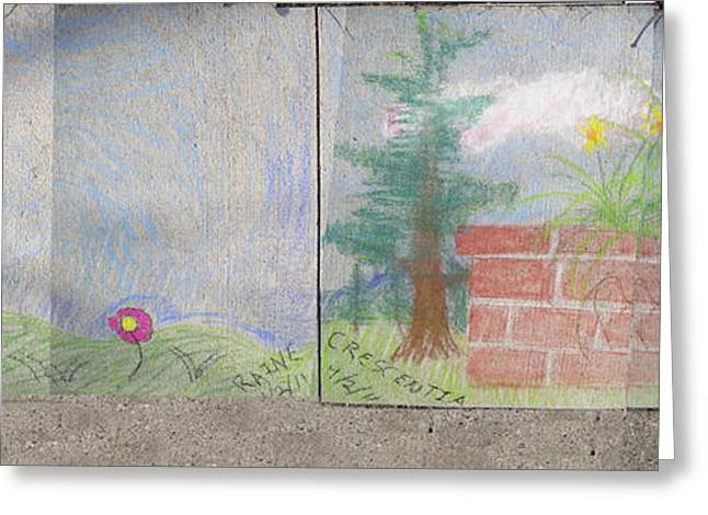 Drop Pastels Greeting Cards - Spring Mural Greeting Card by Crescentia Mello and Raine Schmitt