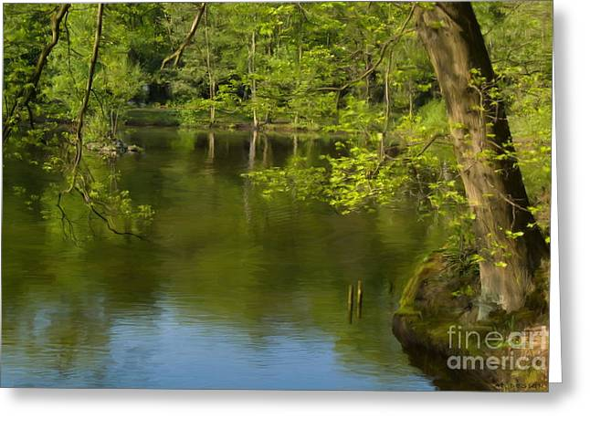 Fruehling Greeting Cards - Spring on the lake Greeting Card by Angela Doelling AD DESIGN Photo and PhotoArt