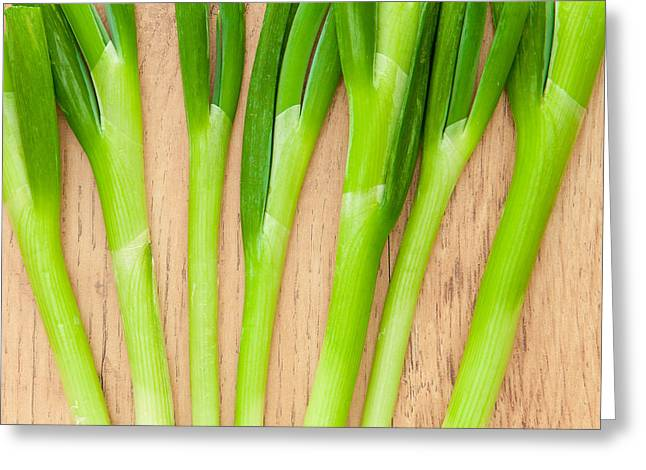 Bulb Greeting Cards - Spring Onions Greeting Card by Tom Gowanlock