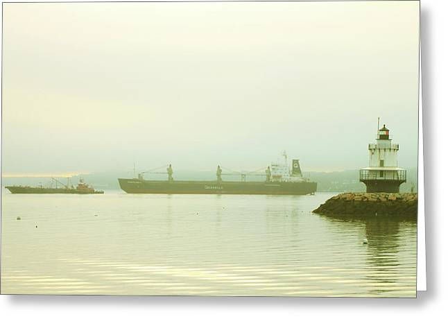 Maine Lighthouses Greeting Cards - Spring Point Ledge Lighthouse and Freighter South Portland Greeting Card by John Burk
