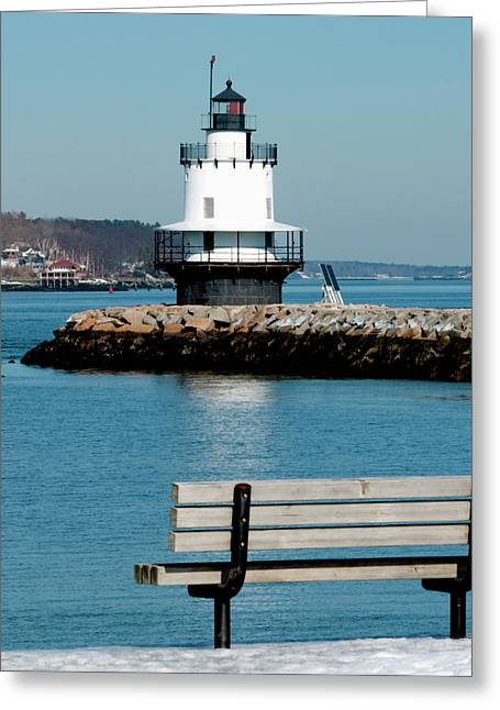 Ledge Greeting Cards - Spring Point Ledge Lighthouse Greeting Card by Greg Fortier