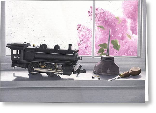 1656 Greeting Cards - Spring rain  electric train Greeting Card by Gary Giacomelli