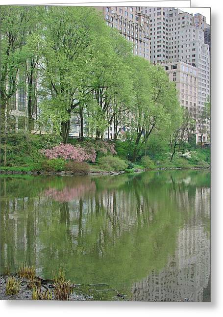 Pond In Park Greeting Cards - Spring Reflections of Manhattan in Central Park Greeting Card by Margaret Bobb