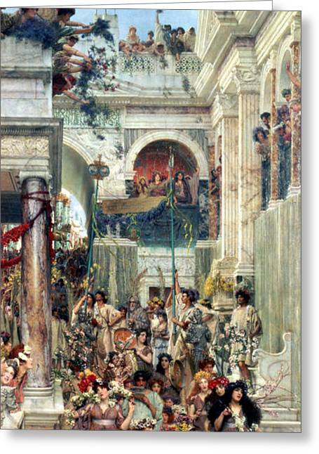 Roman Streets Greeting Cards - Spring Greeting Card by Sir Lawrence Alma-Tadema