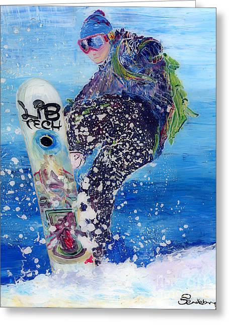 Snow Boarder Greeting Cards - Spring Snowboarder Greeting Card by Sara Pendlebury