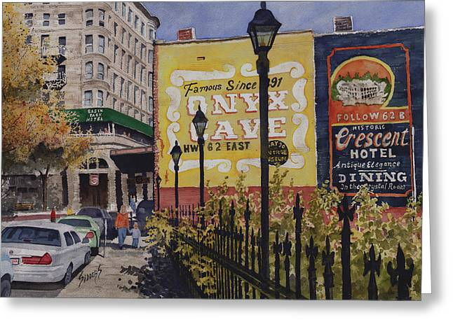 Spring Street at Basin Park Greeting Card by Sam Sidders