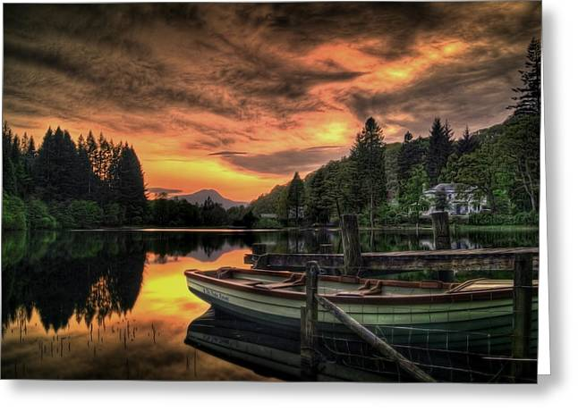 Sunset Posters Greeting Cards - Spring Sunset On Loch Ard Greeting Card by Amanda Finan