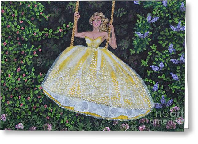 Strapless Dress Greeting Cards - Spring Swing Greeting Card by William Ohanlan