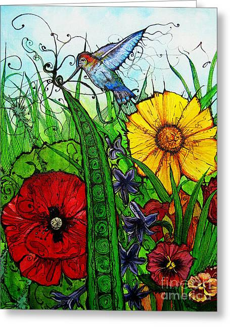 Birds And Flowers Greeting Cards - Spring Things Greeting Card by Carrie Jackson