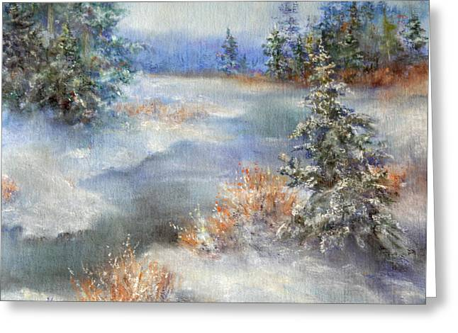 Snowed Trees Pastels Greeting Cards - Spring Time In The Rockies Greeting Card by Mitzi Nelson