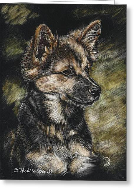 Puppies Mixed Media Greeting Cards - Spring Time Puppy Greeting Card by Bobbie Deuell