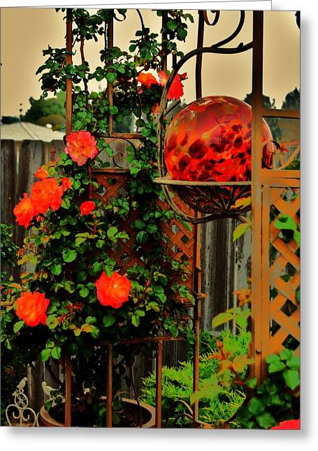 Rosebush Greeting Cards - Spring Trellis Greeting Card by Helen Carson