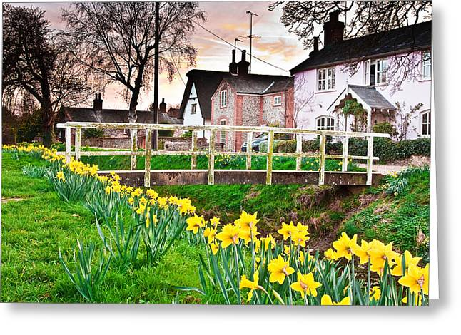 Canal Park Greeting Cards - Spring Village Greeting Card by Tom Gowanlock