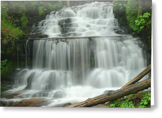 Fresh Green Greeting Cards - Spring Wagner Falls Greeting Card by Dean Pennala