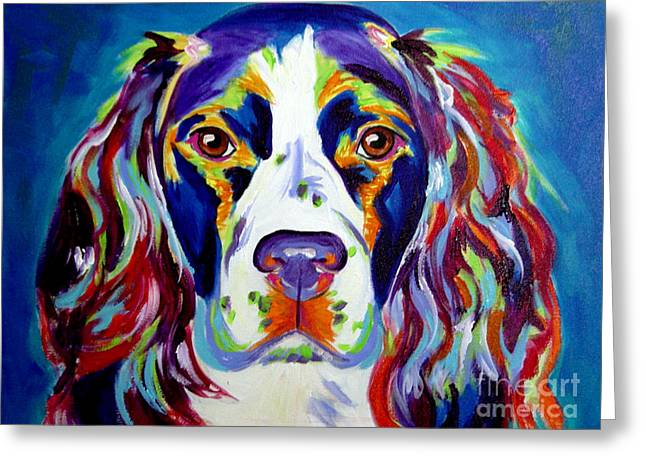 Whimsical Paintings Greeting Cards - Springer Spaniel - Cassie Greeting Card by Alicia VanNoy Call