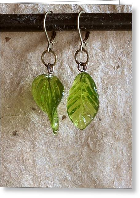 Gold Earrings Jewelry Greeting Cards - SpringLeaves Greeting Card by Jan Brieger-Scranton